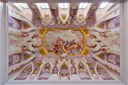 Ein Fresko an der Decke des venetische Villa