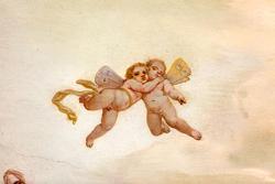 Malerei im achtzehnten Jahrhundert venetischen Villa an der Decke, Detail der Engel