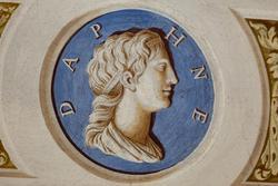 Eine Inschrift in Latein, mit einem Gesicht in der venetische Villa