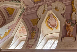 Fenster mit Wanddekorationen im achtzehnten Jahrhundert venetische Villa