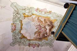 Die Decke in den Raum des Bischofs, ein Zimmer des achtzehnten Jahrhunderts venetische Villa