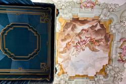 Verzierten Decke des Schlafzimmers des Bischofs in der venetische Villa Sagramoso