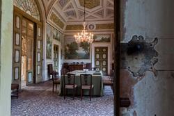 Entering the dining room of the Venetian villa