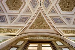 The ceiling and the detail of the door of venetian villa