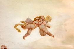 Eighteenth-century painting in venetian villa on the ceiling, details of the angels